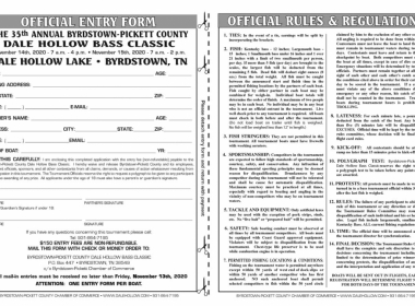 FALL Dale Hollow Bass Classic Entry Form